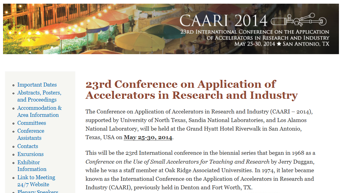 Event: 23rd Conference on Application of Accelerators in Research and Industry (May 25-30, 2014)