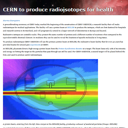 CERN to produce radioisotopes for health