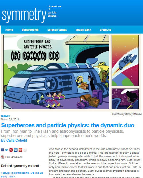 Superheroes and particle physics: the dynamic duo