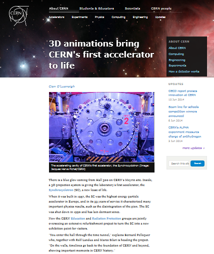 3D animations bring CERN's first accelerator to life